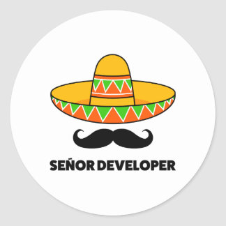 Senior developer classic round sticker