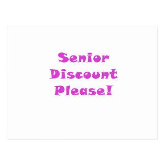 Senior Discount Please Postcard
