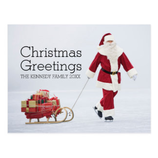 Senior man dressed as Santa Claus ice skating Postcard