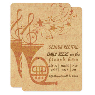 Senior Recital Classical   Music French Horn Card