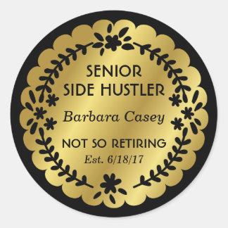 Senior Side Hustler Gold Badge Round Sticker