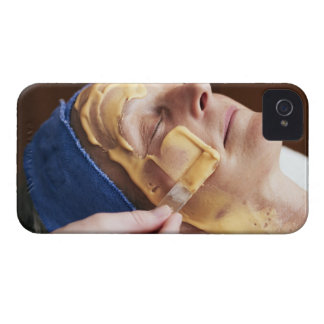 Senior woman having facial cream applied iPhone 4 Case-Mate case