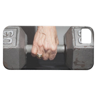 Senior woman lifting weights iPhone 5 case