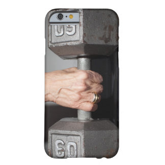 Senior woman lifting weights barely there iPhone 6 case