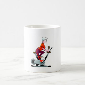 Senior Woman Stationary Bike Mug
