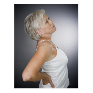Senior woman with backache postcards
