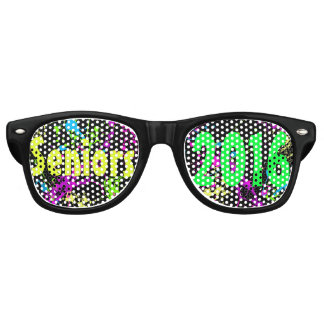 Seniors Class of 2016 Graduation Neon Paint Splash Retro Sunglasses