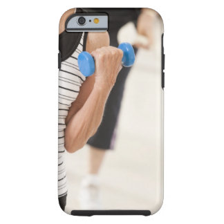 Seniors exercising with dumbbells in a health tough iPhone 6 case