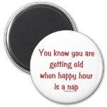 Senior's Happy Hour 2 Inch Round Magnet