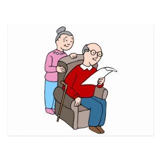 Seniors Reading Document Postcard