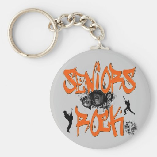 Seniors Rock - Guitar Players Keychains