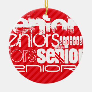 Seniors; Scarlet Red Stripes Ceramic Ornament