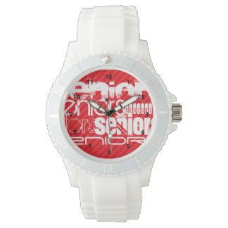 Seniors; Scarlet Red Stripes Wrist Watch