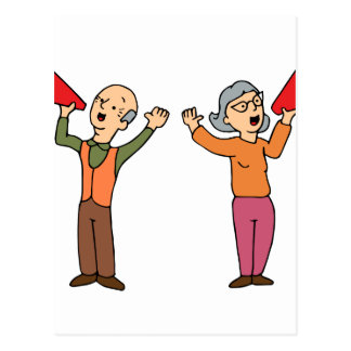 Seniors Shouting Through Bullhorns Postcard