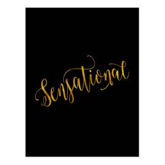 Sensational Quote Gold Faux Foil Inspiration Black Postcard