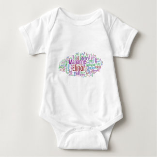 Sense and Sensibility Word Cloud Baby Bodysuit