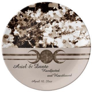 Sentimental Dogwood Triple Moon Handfasting Porcelain Plate