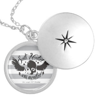 Sentimental, semi mental skull graphic art. locket necklace