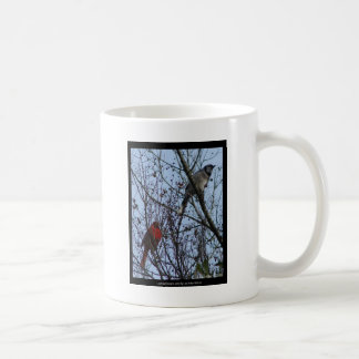 Sentinels Blue Jay and Cardinal by Lee Hiller Coffee Mug