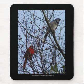 Sentinels Blue Jay and Cardinal by Lee Hiller Mouse Pad