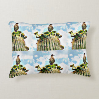 Sentry Dove Keeping Watch On Saguaro Accent Pillow