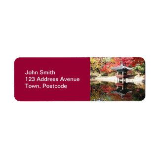 Seoul Autumn Japanese Garden Return Address Label