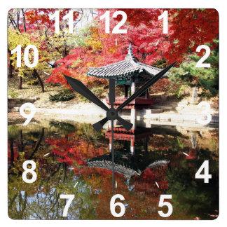 Seoul Autumn Japanese Garden Square Wall Clock