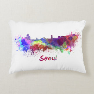 Seoul skyline in watercolor accent pillow