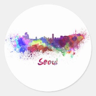 Seoul skyline in watercolor classic round sticker