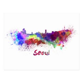 Seoul skyline in watercolor postcard