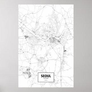 Seoul, South Korea (black on white) Poster