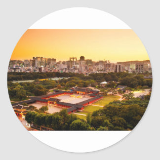 Seoul South Korea Skyline Classic Round Sticker