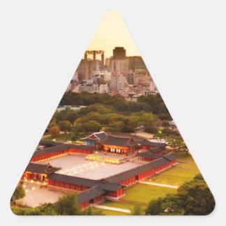 Seoul South Korea Skyline Triangle Sticker