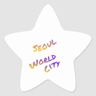 Seoul world city, colorful text art star sticker