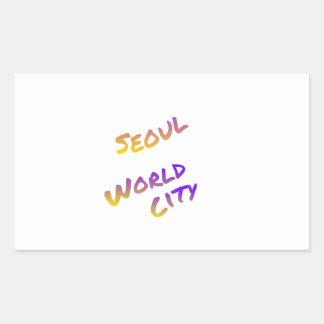 Seoul world city, colorful text art sticker