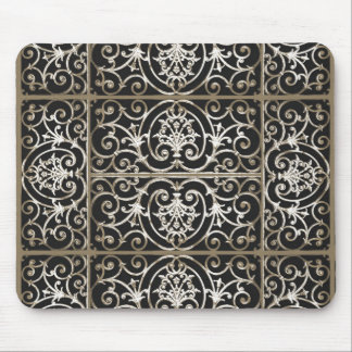 Sepia and black scrollwork pattern mouse pad