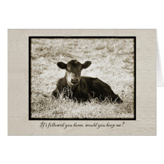 Sepia Baby Calf Quote Card