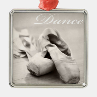 Sepia Ballet Slipper Pointe Shoes Dance Template Silver-Colored Square Ornament