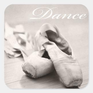 Sepia Ballet Slipper Pointe Shoes Dance Template Square Sticker