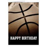 Sepia Basketball Happy Birthday Card