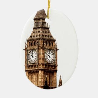 Sepia Big Ben Tower Ceramic Oval Ornament