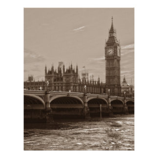 Sepia Big Ben Tower Palace of Westminster Personalized Letterhead