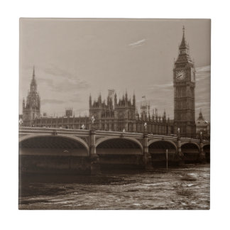 Sepia Big Ben Tower Palace of Westminster Tile
