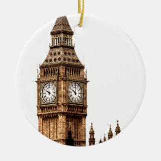 Sepia Big Ben Tower Round Ceramic Ornament