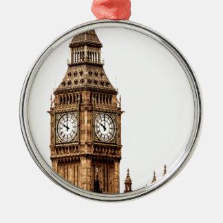 Sepia Big Ben Tower Silver-Colored Round Ornament