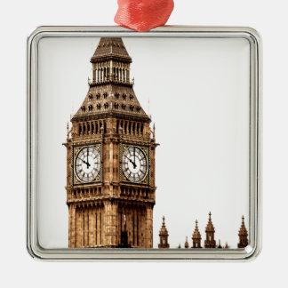 Sepia Big Ben Tower Silver-Colored Square Ornament