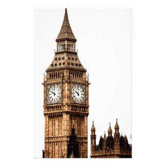 Sepia Big Ben Tower Stationery Paper
