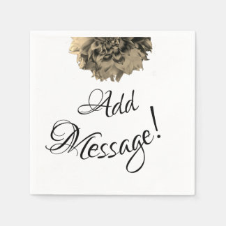 Sepia Bloom, Add Message Paper Napkins