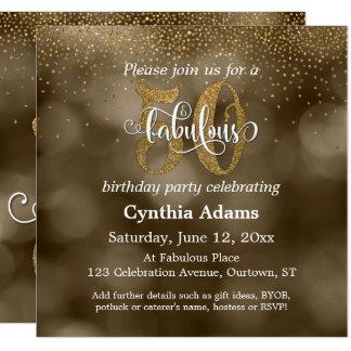Sepia Bokeh, Gold Glitter & Script 50 & Fabulous Card