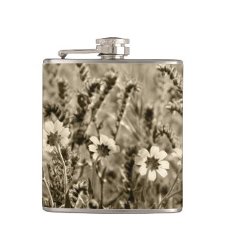 Sepia Botany Photograph Hip Flask